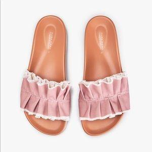 NWT. Zara Home Pink Slippers. Size 9, 10.
